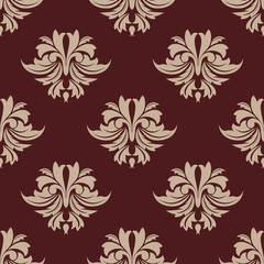 Beige and brown seamless arabesque pattern