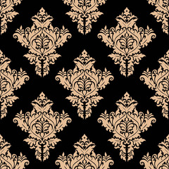 Beige and black seamless floral pattern