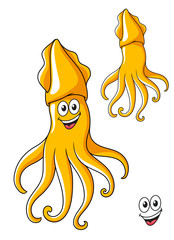 Colorful smiling cartoon squid