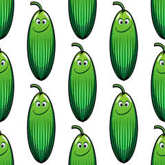 Cute green cucumber in a seamless pattern