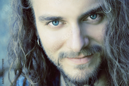 canvas print picture young, attractive man close up