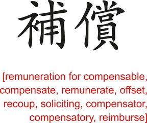 Chinese Sign for remuneration for compensable, compensate