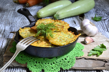 Zucchini fritters on a pan.