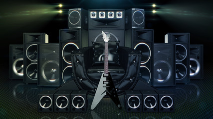 leather sofa surrounded by speakers and electric guitar