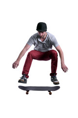 skateboarder jumping high