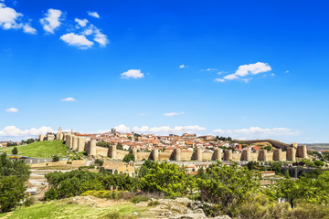 Panoramic view of the historic city of Avila, Castilla y Leon.