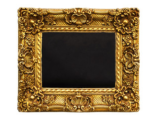 Blackboard in gold vintage frame isolated on white