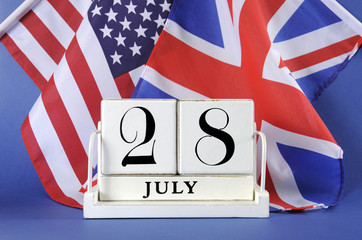 Calendar for 28 July, World War I, centenary with USA & UK flags