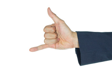 Businessman Show Thumb and Little Finger or Horn Sign Isolated o