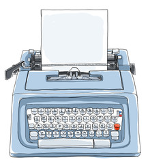 blue typewriter  with paper cute l