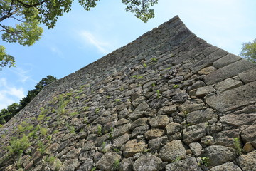 Stone wall at Himeji Castle in Japan