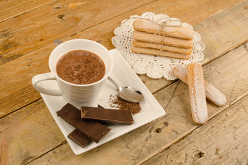 Hot chocolate and biscuits
