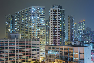 Buildings in Hong Kong at night