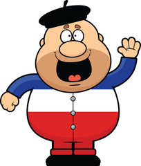 Cartoon Frenchman Waving