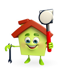 House character with  hammer and wrench