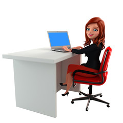 Young Business Woman with is working with laptop
