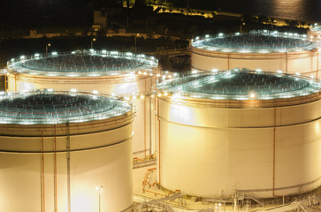 A night scene of oil tank