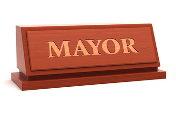 Mayor job title on nameplate
