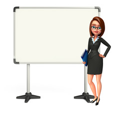 Young Business Woman with display board