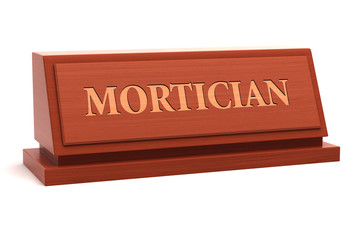 Mortician job title on nameplate