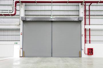Interior of factory with shutter door