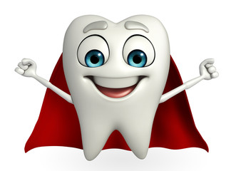Teeth character with superman cloth