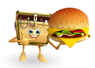 Treasure box character with burger