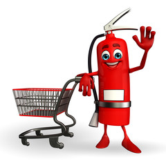 Fire Extinguisher character with trolley