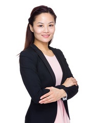 Asian business woman cross arms standing on white background