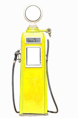 Yellow retro gasoline pump