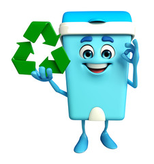 Dustbin Character with recycle icon