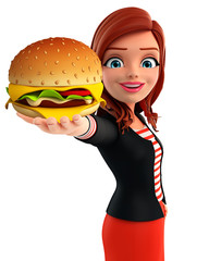Young Corporate lady with burger