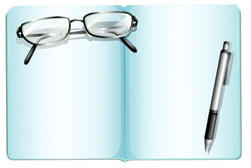 An empty notebook with an eyeglass and a pen