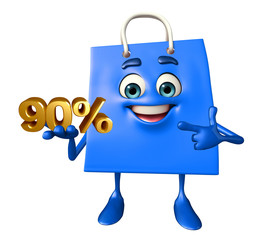 Shopping bag character with percent sign