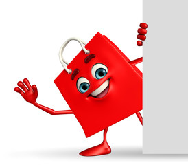 Shopping bag character sign