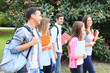 Group of students walking outdoor