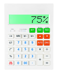 Calculator with 75% on display on white background