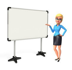 Young office girl with display board