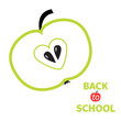 Green apple with heart center seed. Back to school. Flat design.