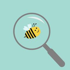 Bee under magnifier zoom lense. Flat design.