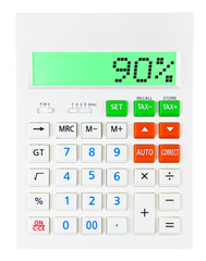 Calculator with 90% on display on white background