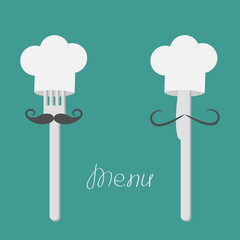 Two forks with big mustaches and chefs hats Menu card Flat