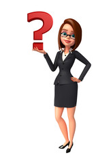 Young Business Woman with question mark