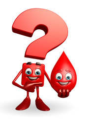 Question Mark character with blood drop