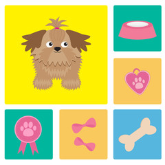 Dog Shih Tzu and dog stuff bow bone food award icon