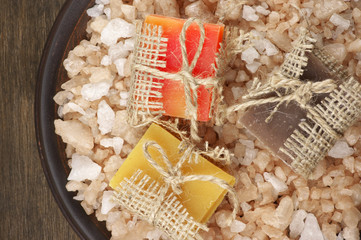 Assorted natural soaps and bath salt