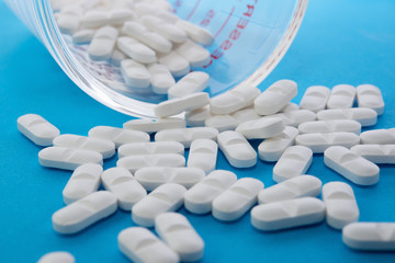 Close up white tablet pills