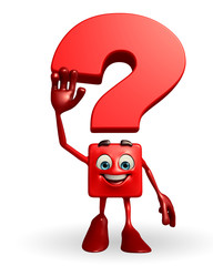 Question Mark character with hello pose