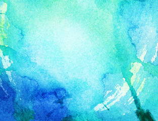 Painted blue watercolor background.