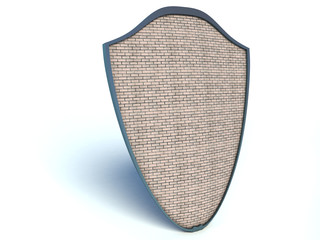 shield with brick texture on white background